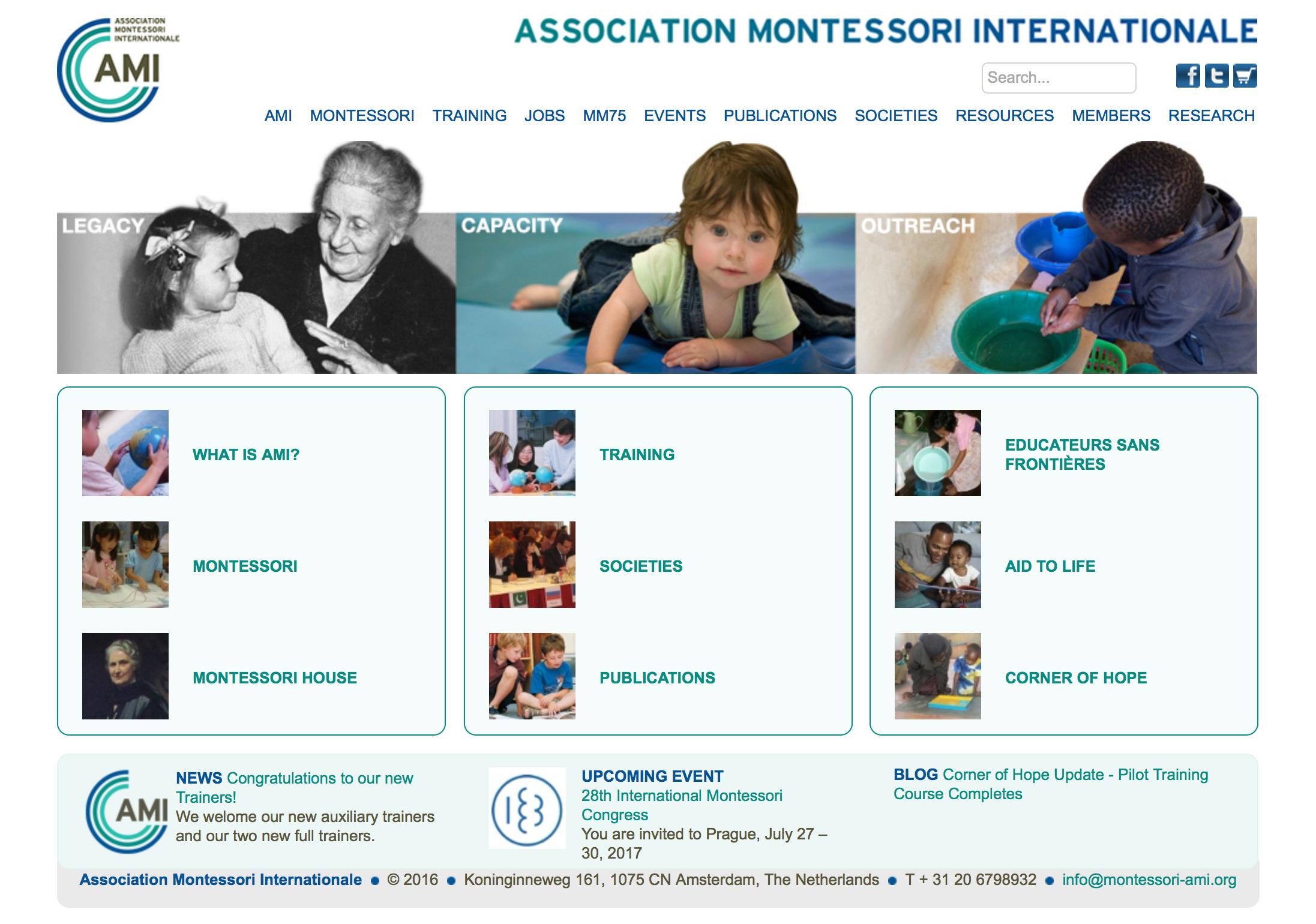 国際モンテッソーリ協会(AMI)のホームページ