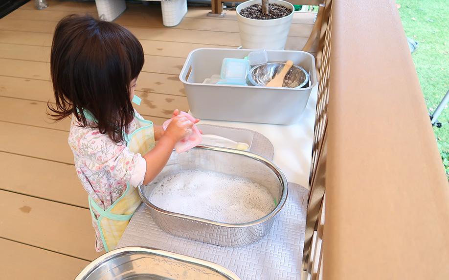 ウッドデッキ洗い物